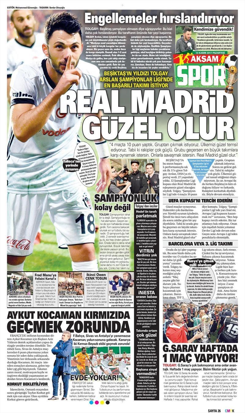 13 Kasım 2017 | Gazetelerin Beşiktaş Manşetleri 1