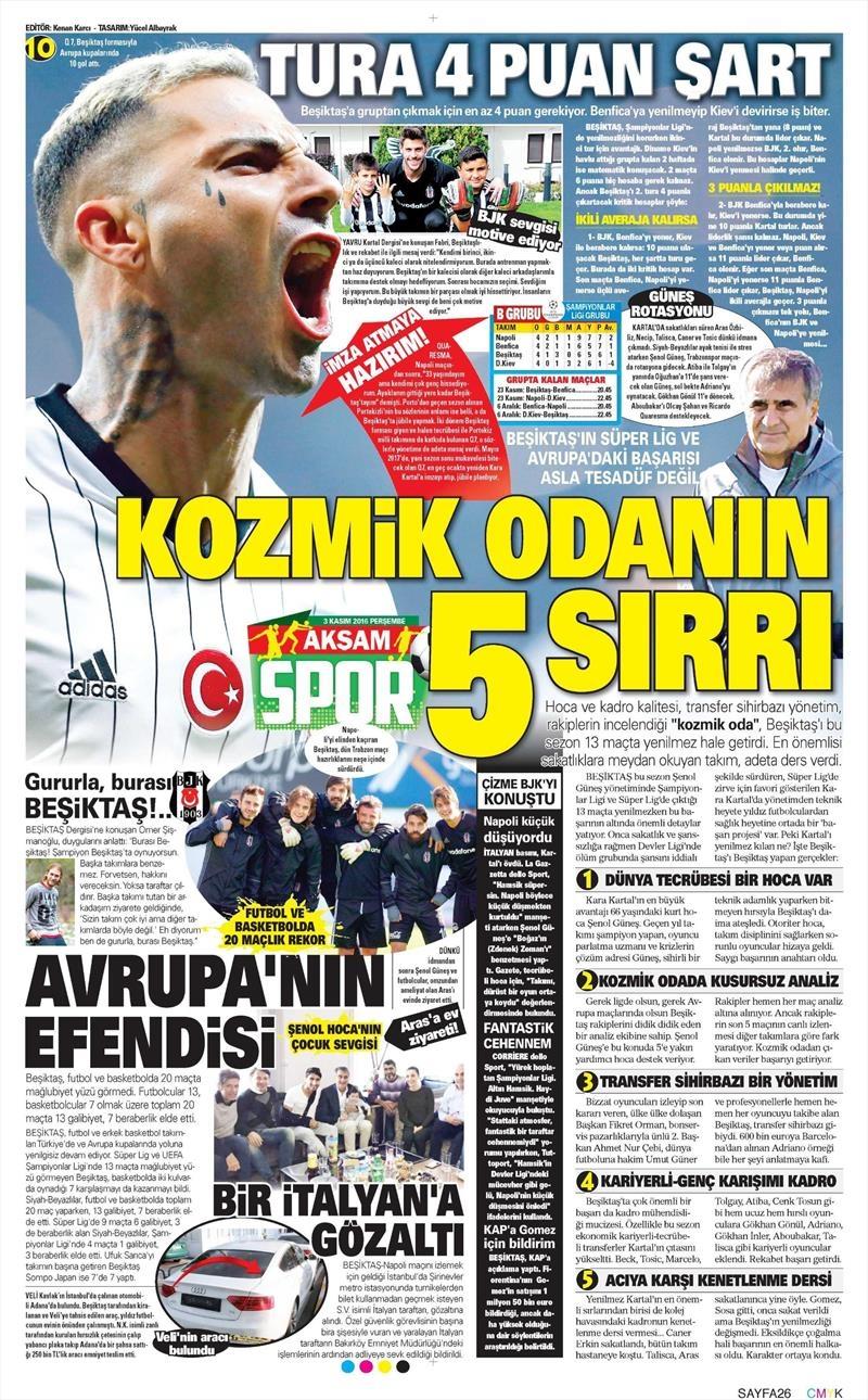 3 Kasım 2016 | Gazetelerin Beşiktaş sayfaları 1