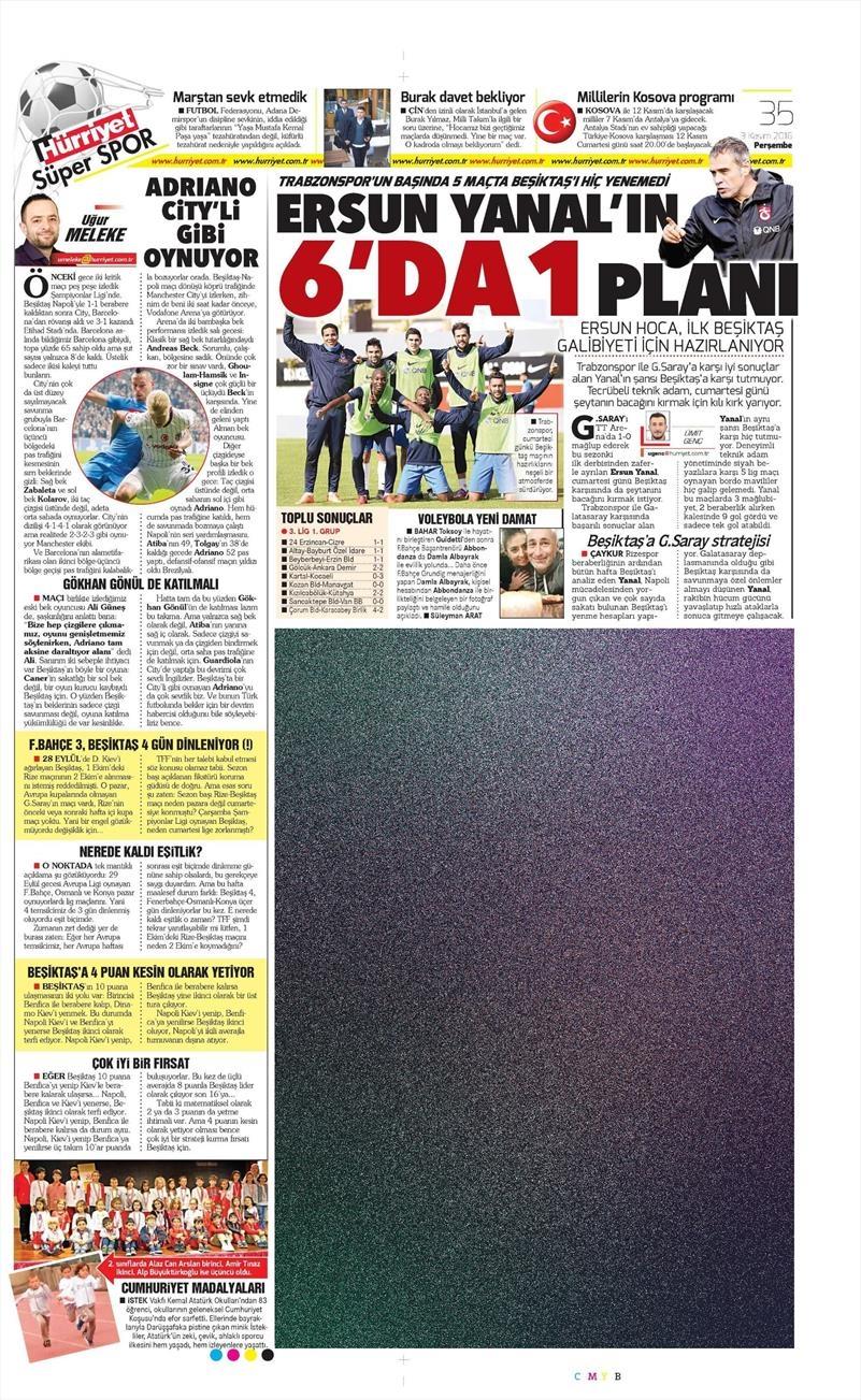 3 Kasım 2016 | Gazetelerin Beşiktaş sayfaları 10