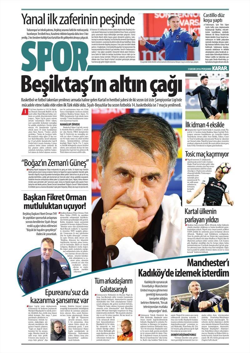 3 Kasım 2016 | Gazetelerin Beşiktaş sayfaları 11