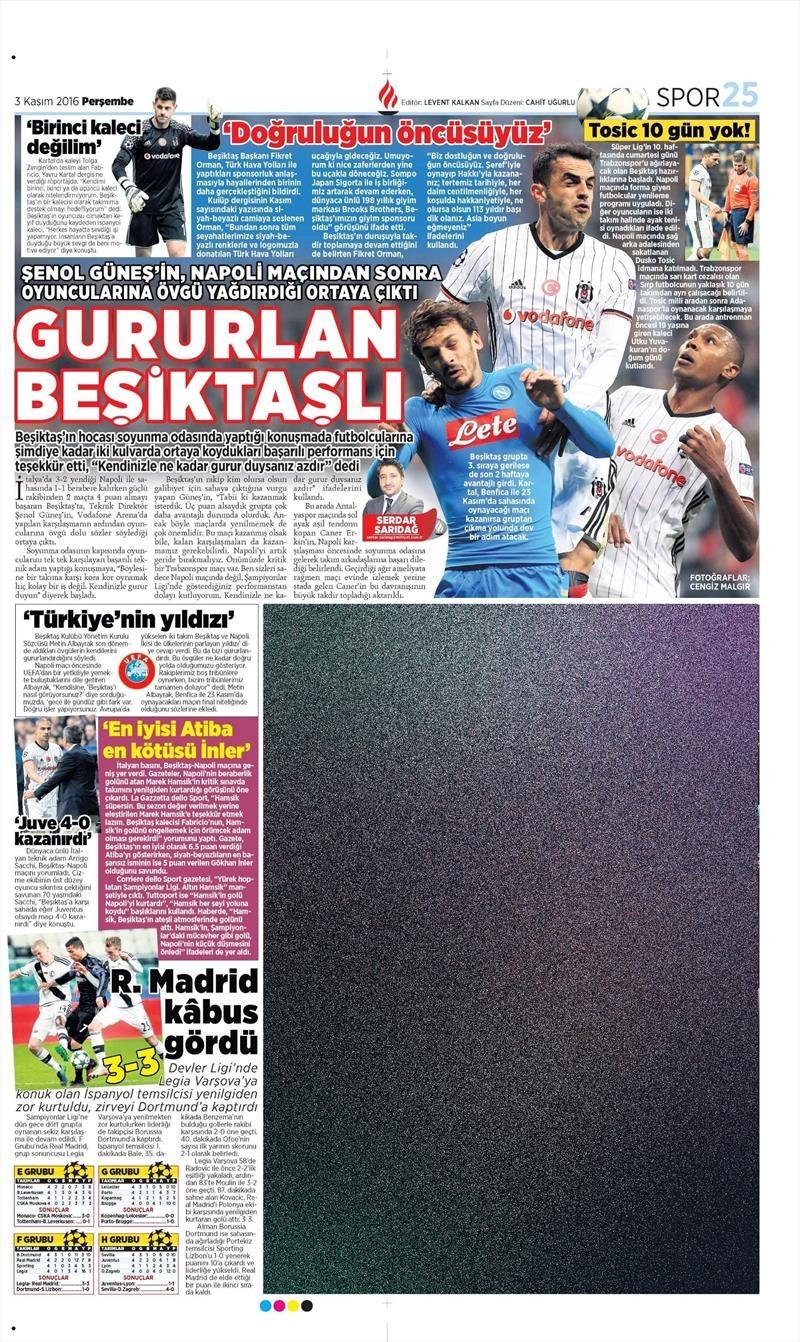 3 Kasım 2016 | Gazetelerin Beşiktaş sayfaları 12