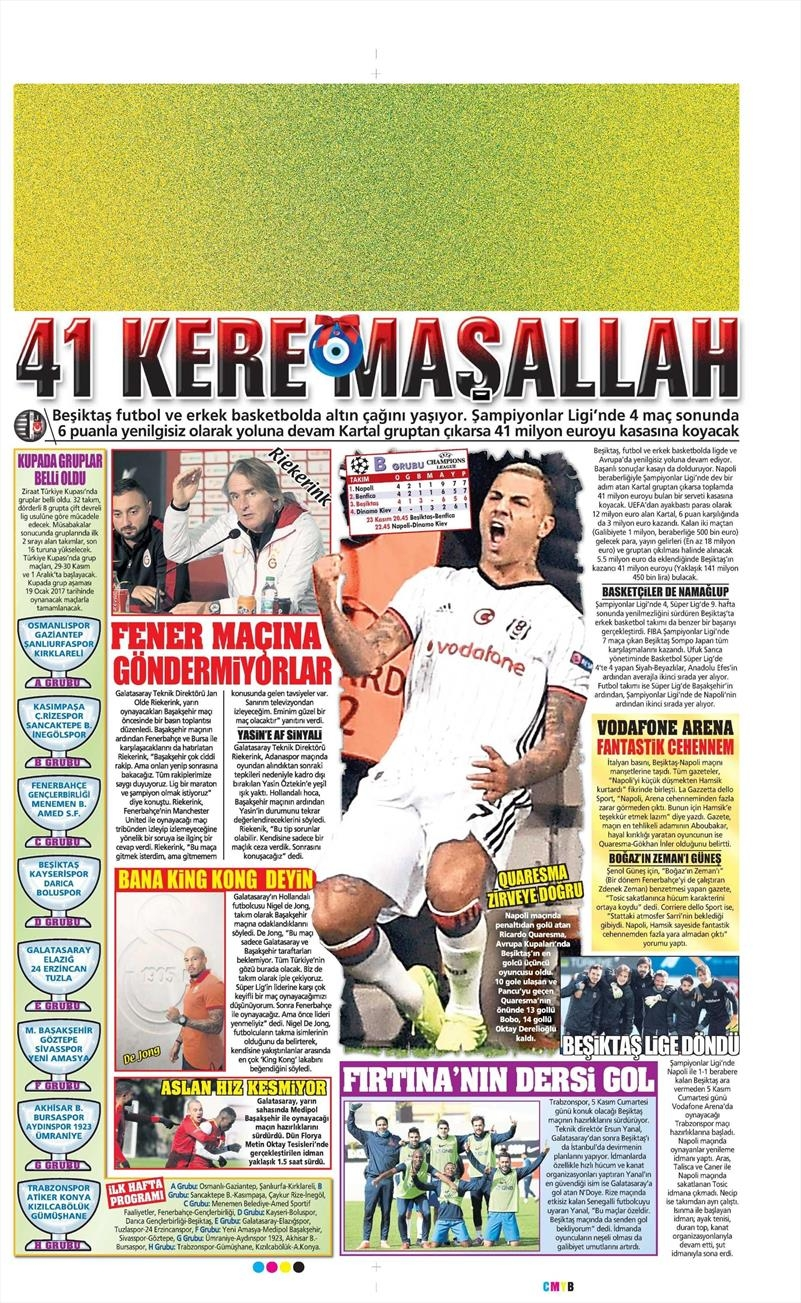 3 Kasım 2016 | Gazetelerin Beşiktaş sayfaları 13