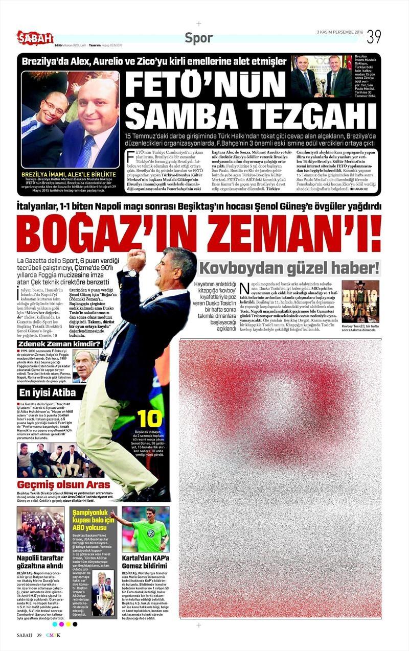 3 Kasım 2016 | Gazetelerin Beşiktaş sayfaları 14