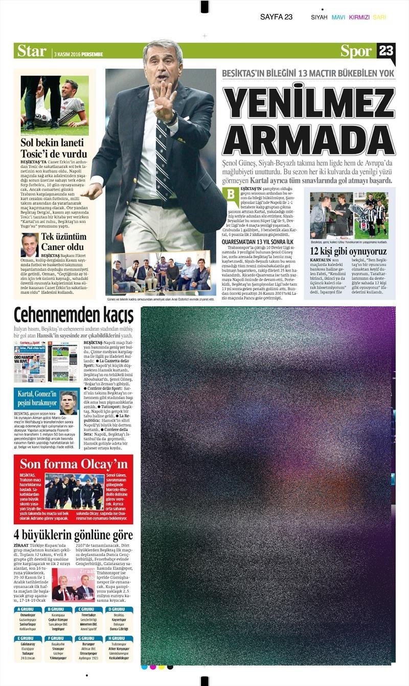 3 Kasım 2016 | Gazetelerin Beşiktaş sayfaları 15