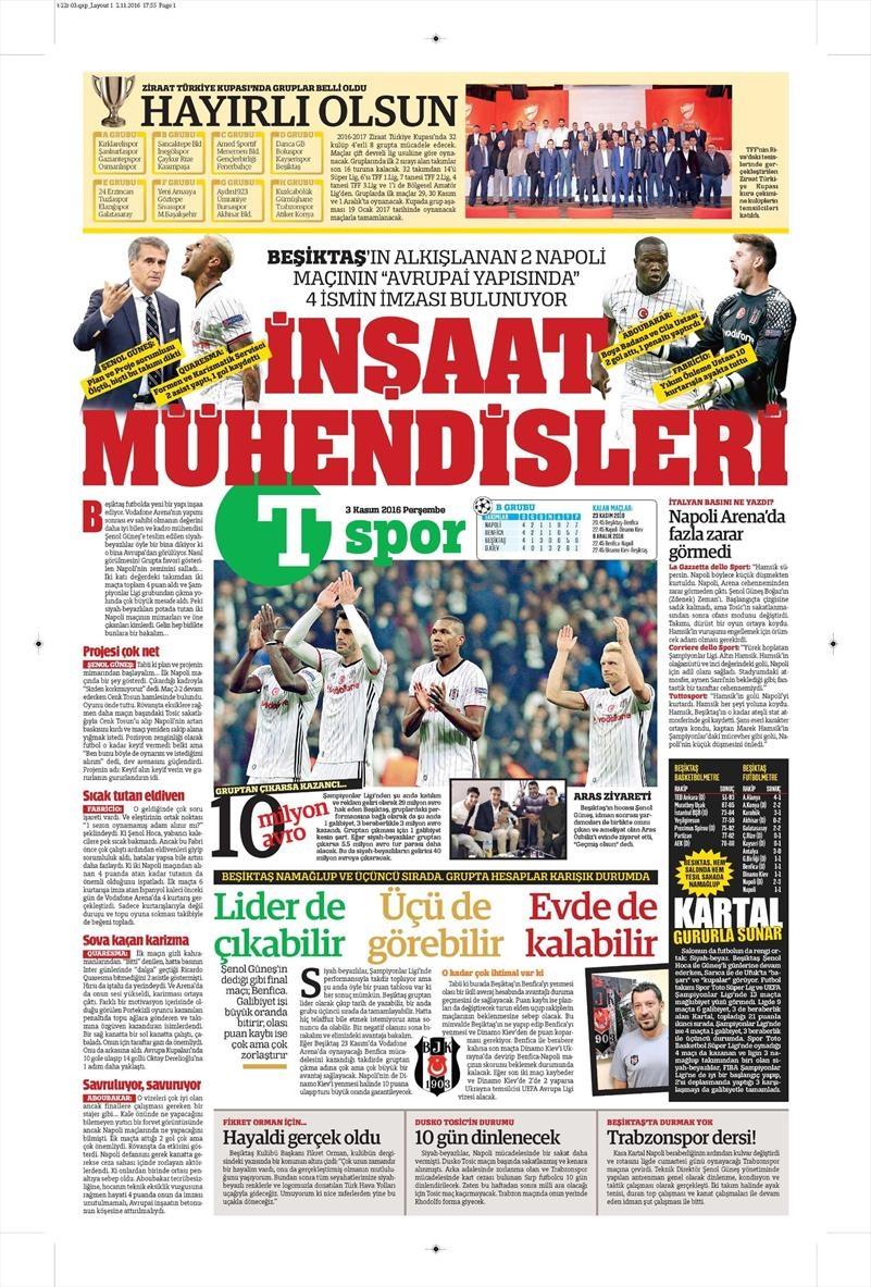 3 Kasım 2016 | Gazetelerin Beşiktaş sayfaları 17