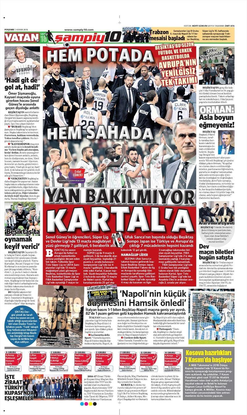3 Kasım 2016 | Gazetelerin Beşiktaş sayfaları 18