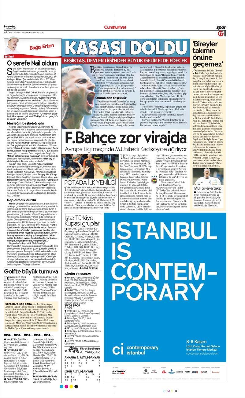 3 Kasım 2016 | Gazetelerin Beşiktaş sayfaları 2