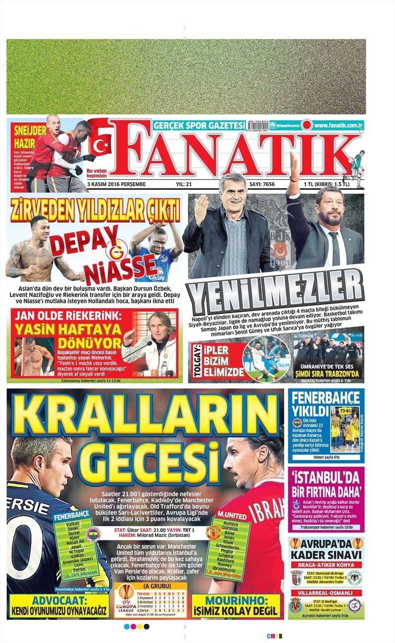 3 Kasım 2016 | Gazetelerin Beşiktaş sayfaları 3