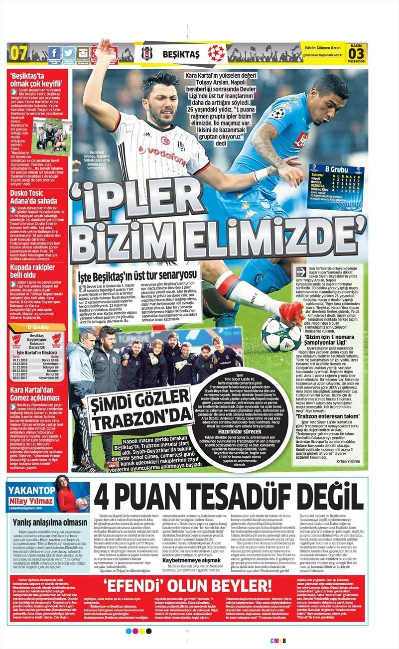 3 Kasım 2016   Gazetelerin Beşiktaş sayfaları 5