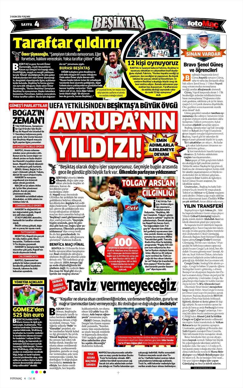3 Kasım 2016   Gazetelerin Beşiktaş sayfaları 6