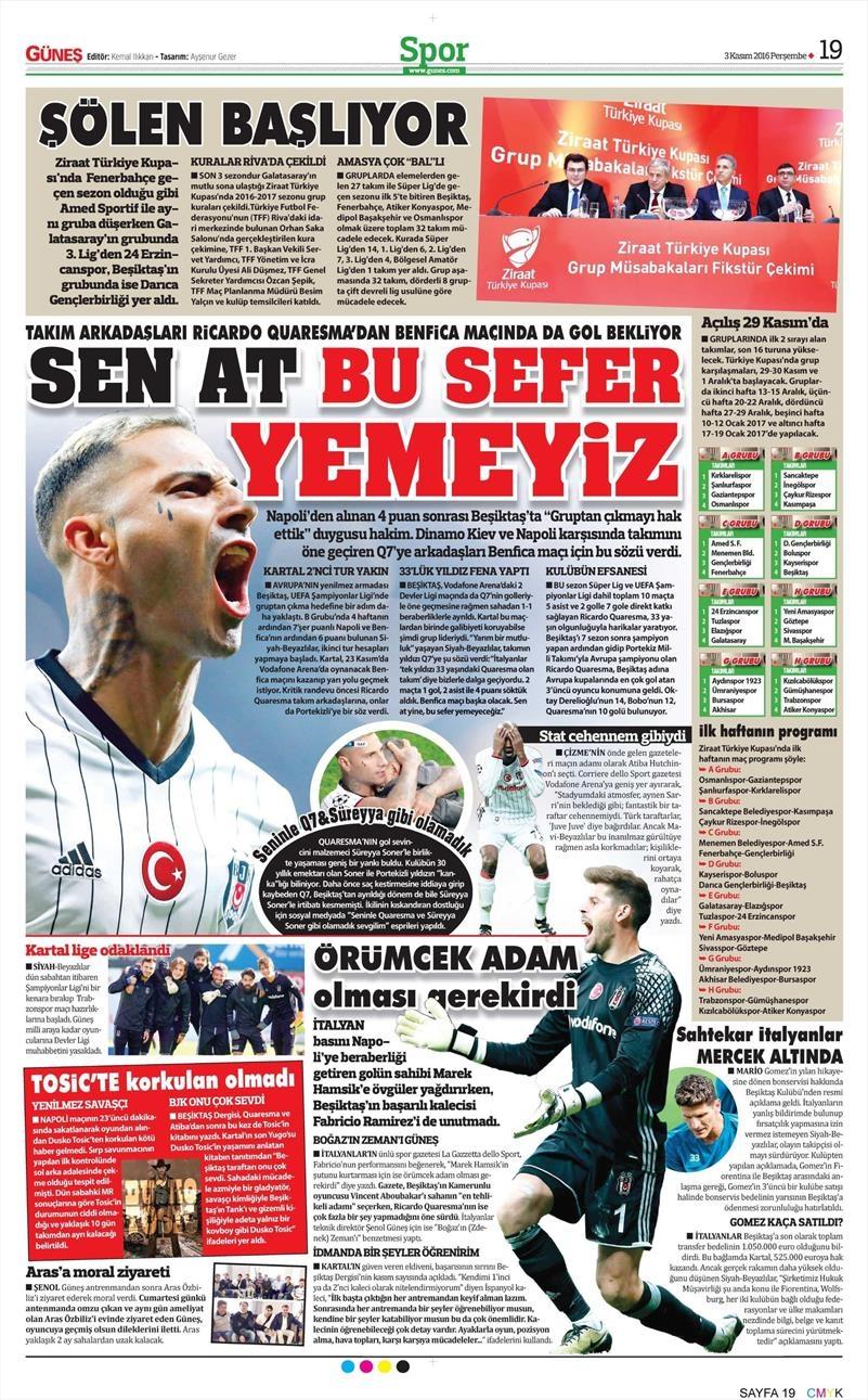 3 Kasım 2016 | Gazetelerin Beşiktaş sayfaları 7
