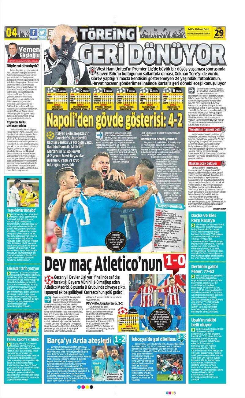 29 Eylül 2016 | Beşiktaş sayfaları 1