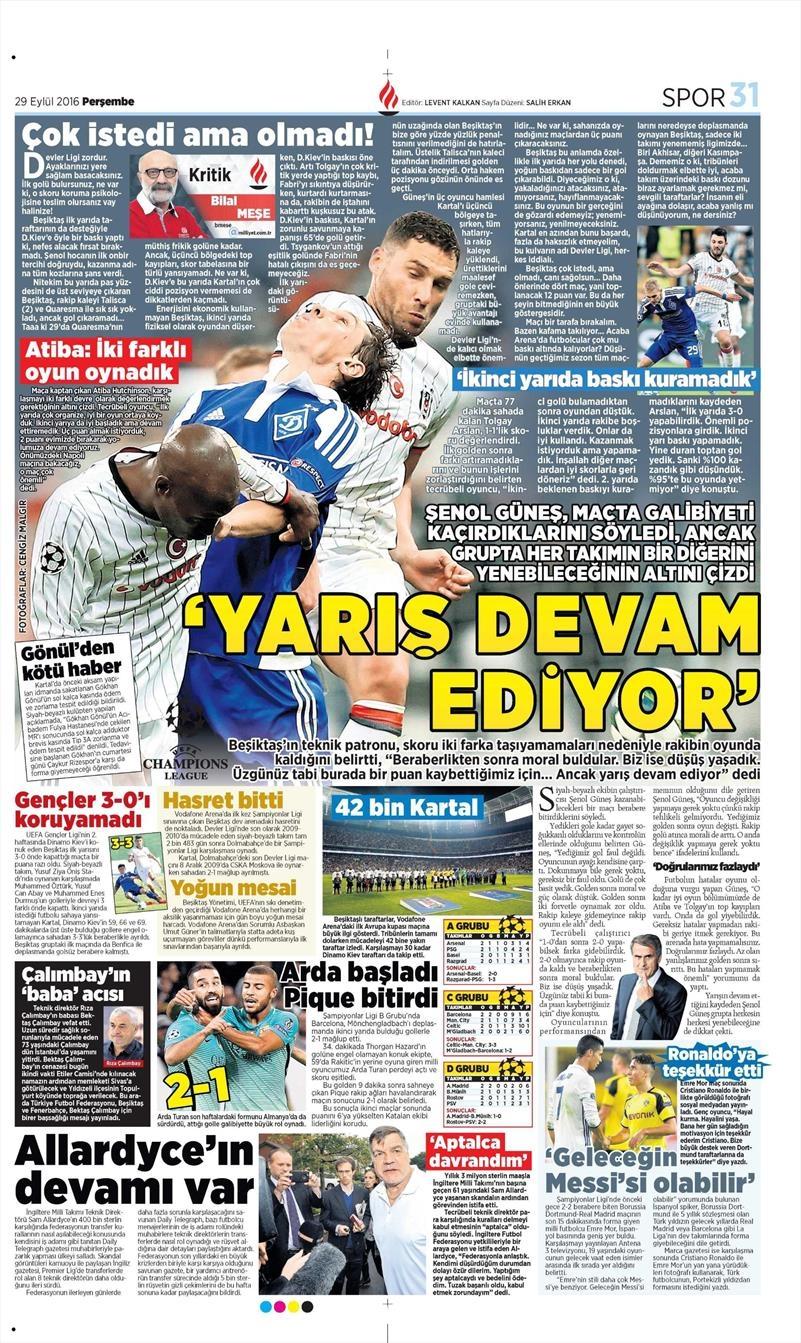 29 Eylül 2016   Beşiktaş sayfaları 10