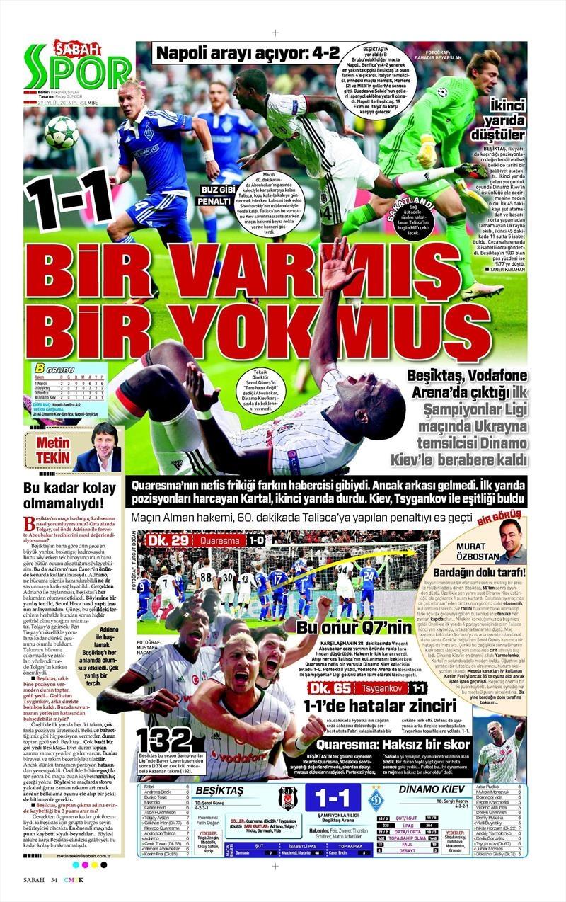 29 Eylül 2016 | Beşiktaş sayfaları 11
