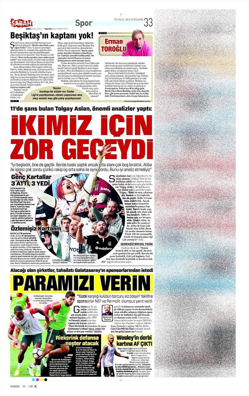 29 Eylül 2016 | Beşiktaş sayfaları 12