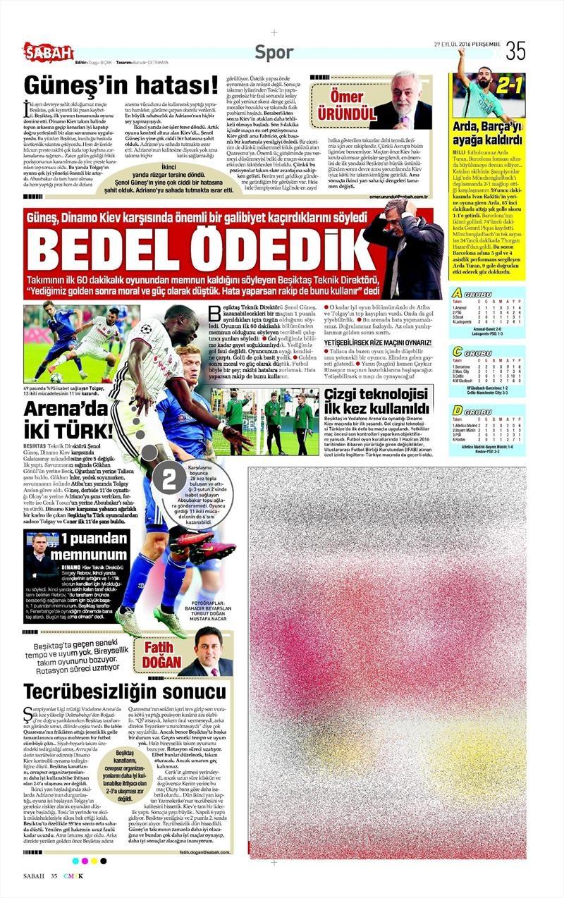 29 Eylül 2016 | Beşiktaş sayfaları 13