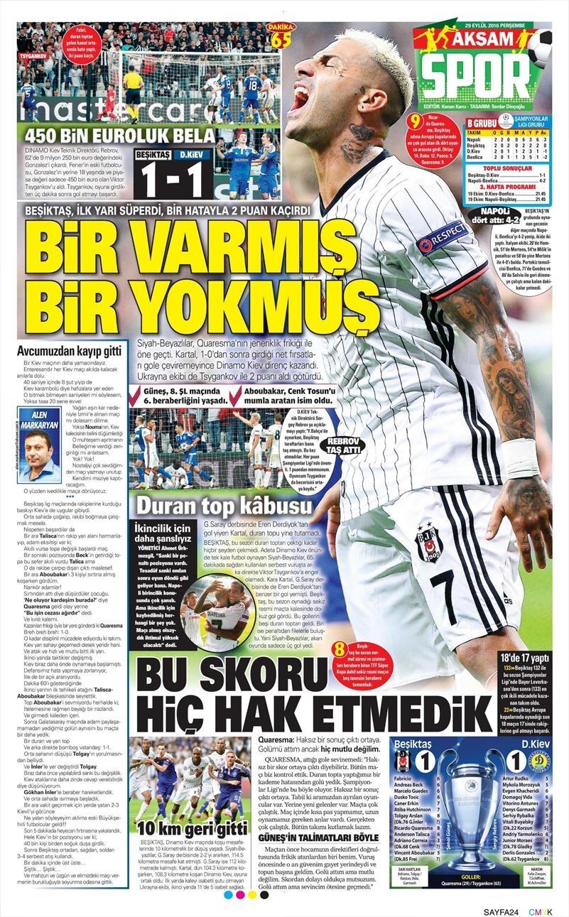29 Eylül 2016 | Beşiktaş sayfaları 14