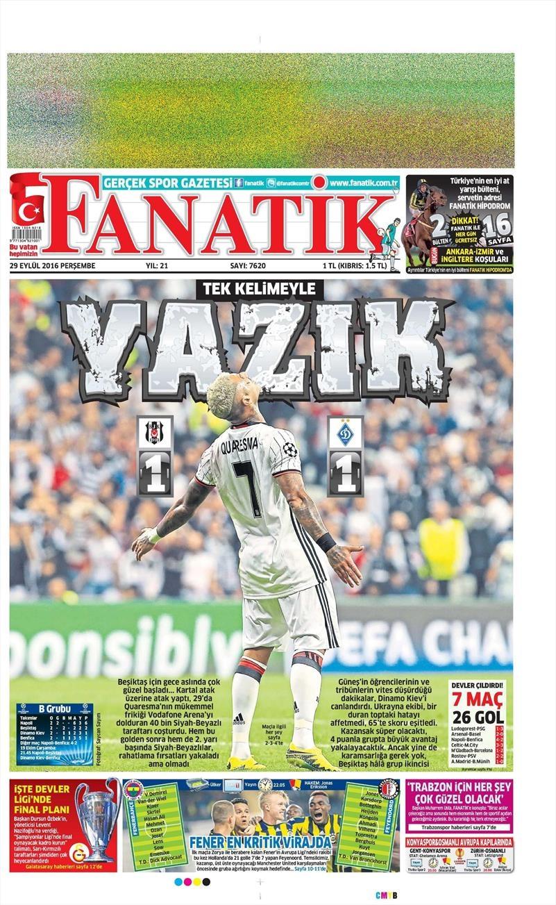 29 Eylül 2016 | Beşiktaş sayfaları 15