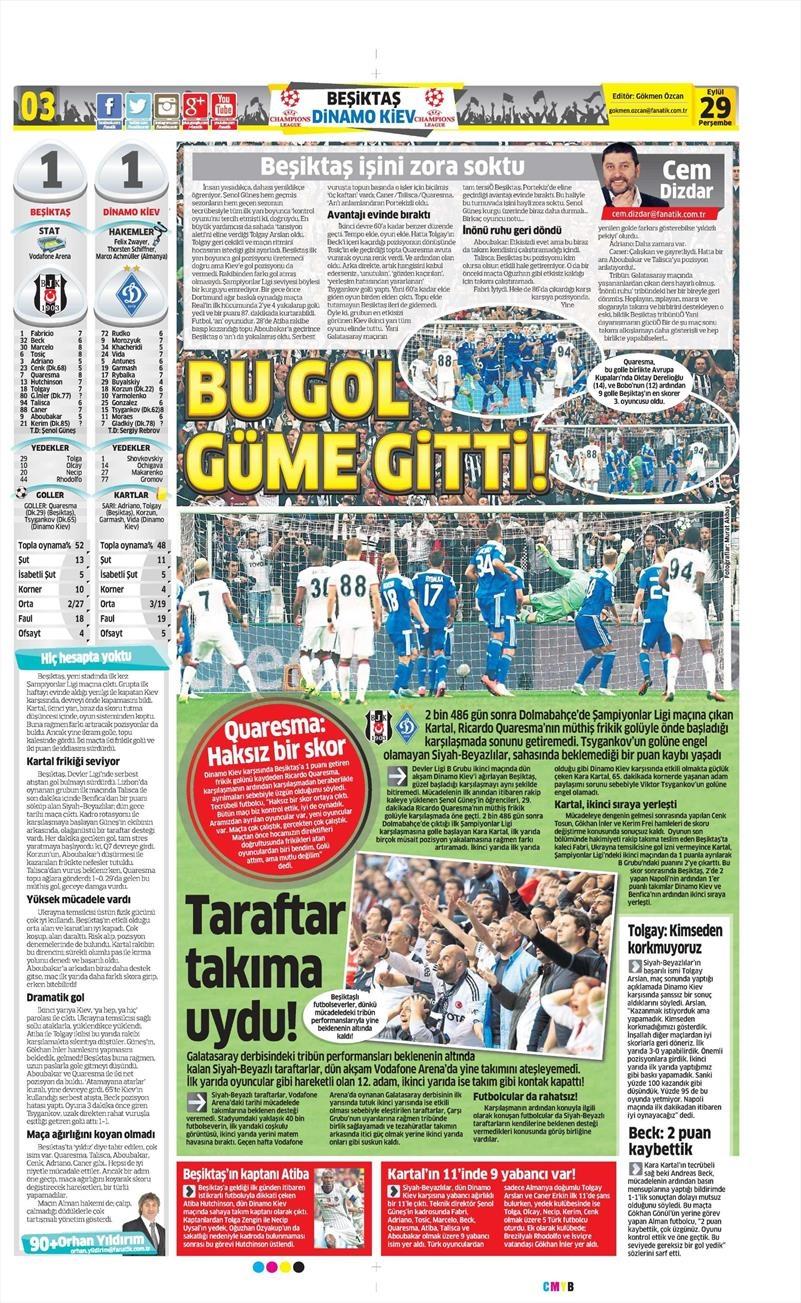29 Eylül 2016 | Beşiktaş sayfaları 17