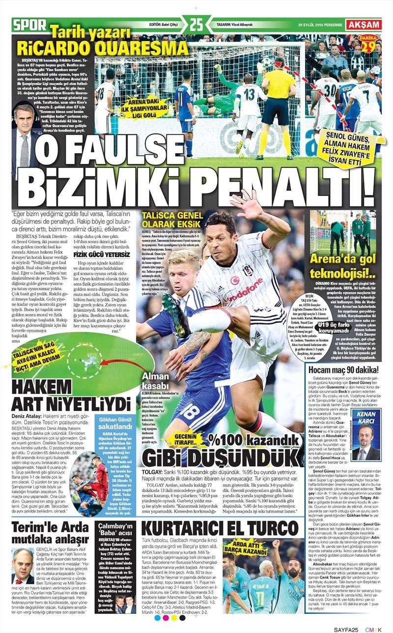 29 Eylül 2016 | Beşiktaş sayfaları 18