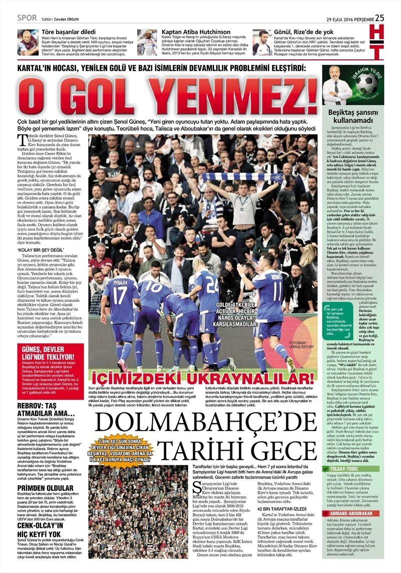 29 Eylül 2016 | Beşiktaş sayfaları 19