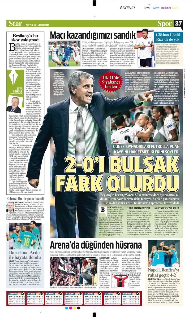 29 Eylül 2016 | Beşiktaş sayfaları 2