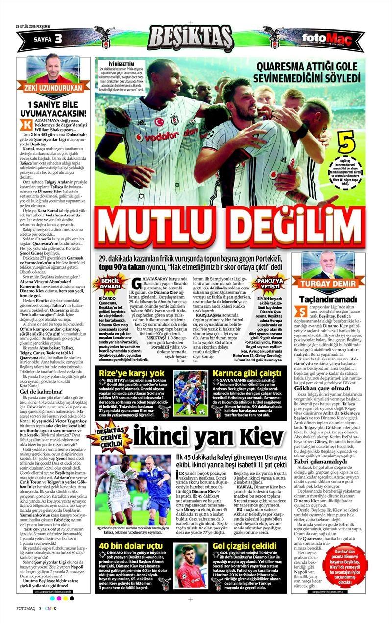 29 Eylül 2016 | Beşiktaş sayfaları 20