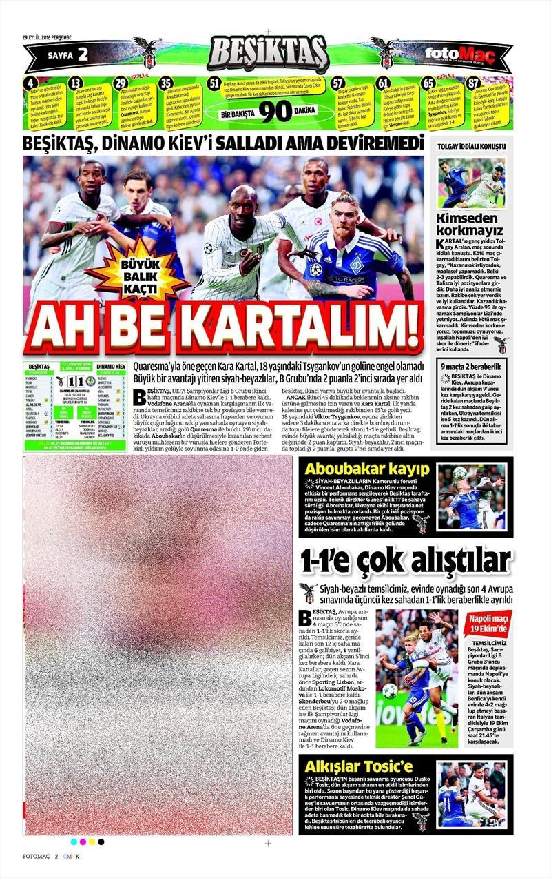 29 Eylül 2016 | Beşiktaş sayfaları 21
