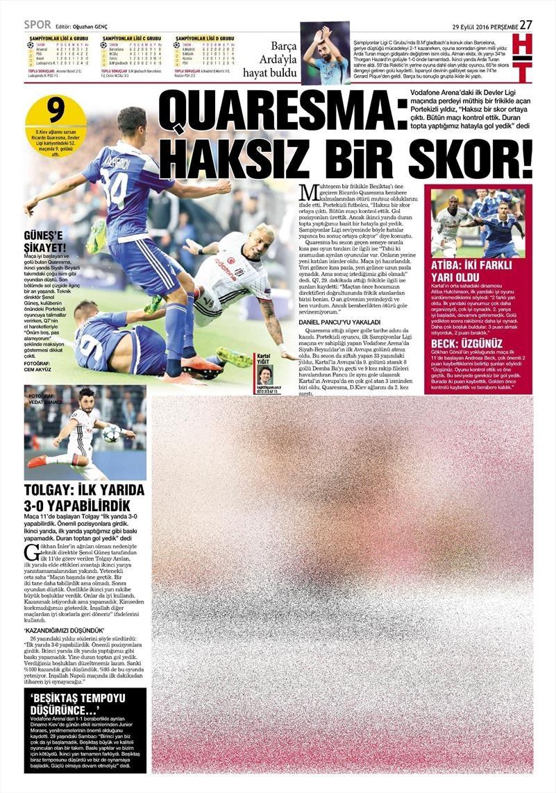 29 Eylül 2016 | Beşiktaş sayfaları 22