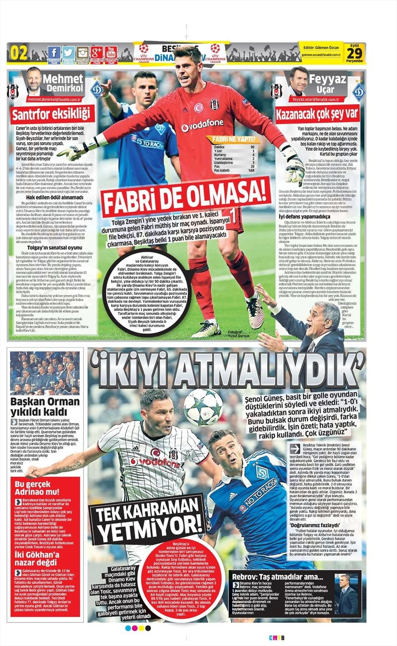 29 Eylül 2016 | Beşiktaş sayfaları 23