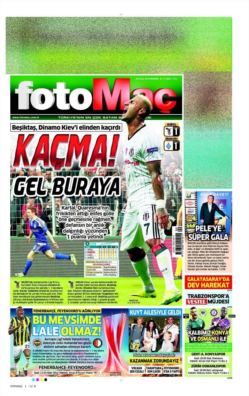 29 Eylül 2016   Beşiktaş sayfaları 24