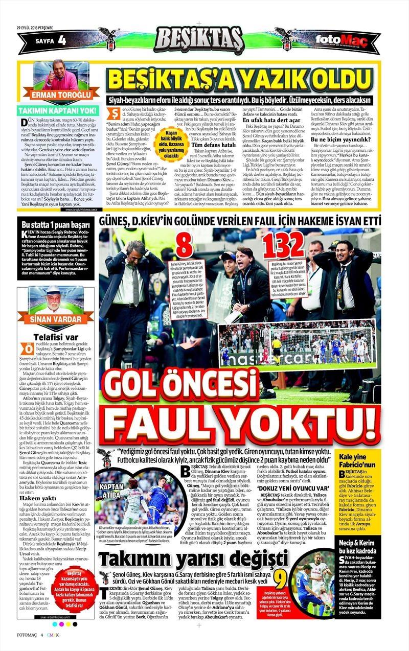 29 Eylül 2016 | Beşiktaş sayfaları 26