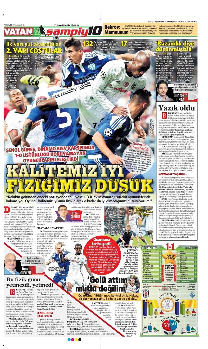 29 Eylül 2016 | Beşiktaş sayfaları 4