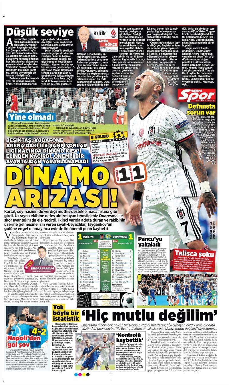 29 Eylül 2016 | Beşiktaş sayfaları 9
