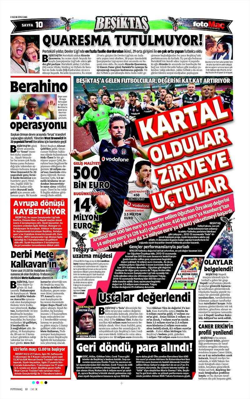 4 Kasım 2016 | Gazetelerin Beşiktaş sayfaları 2