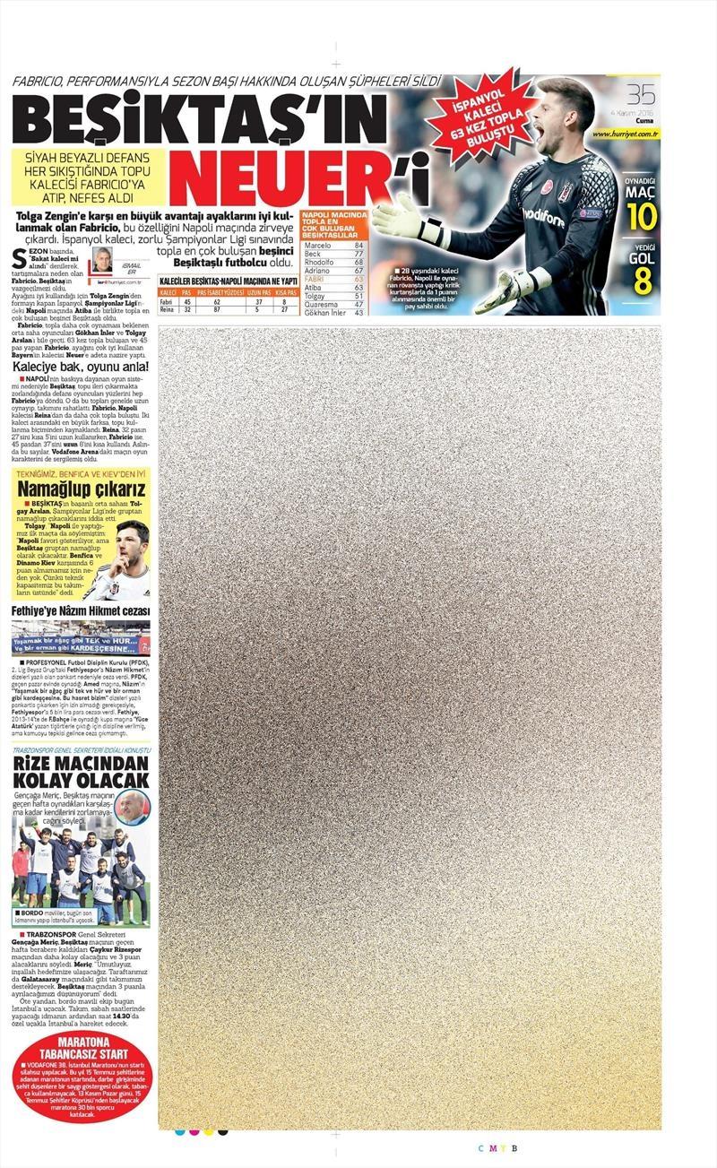4 Kasım 2016 | Gazetelerin Beşiktaş sayfaları 4