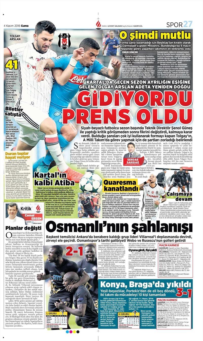 4 Kasım 2016 | Gazetelerin Beşiktaş sayfaları 5