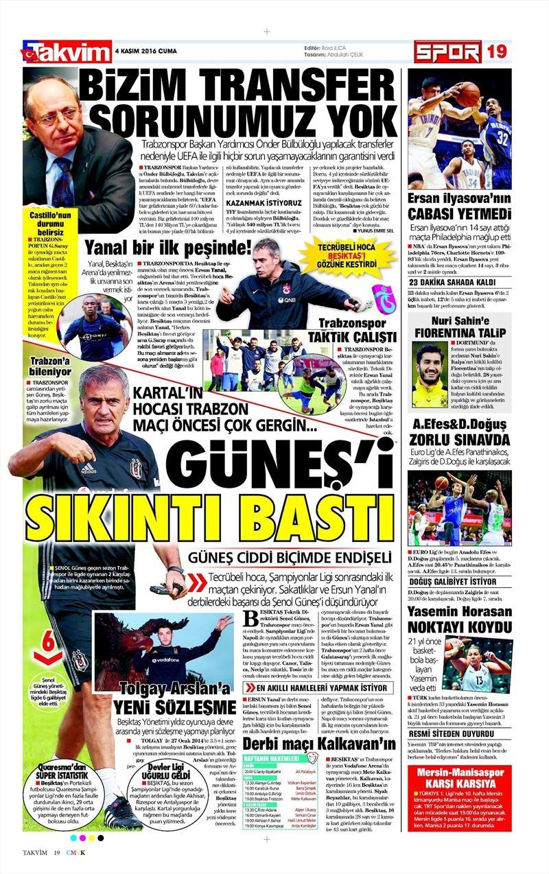 4 Kasım 2016   Gazetelerin Beşiktaş sayfaları 7