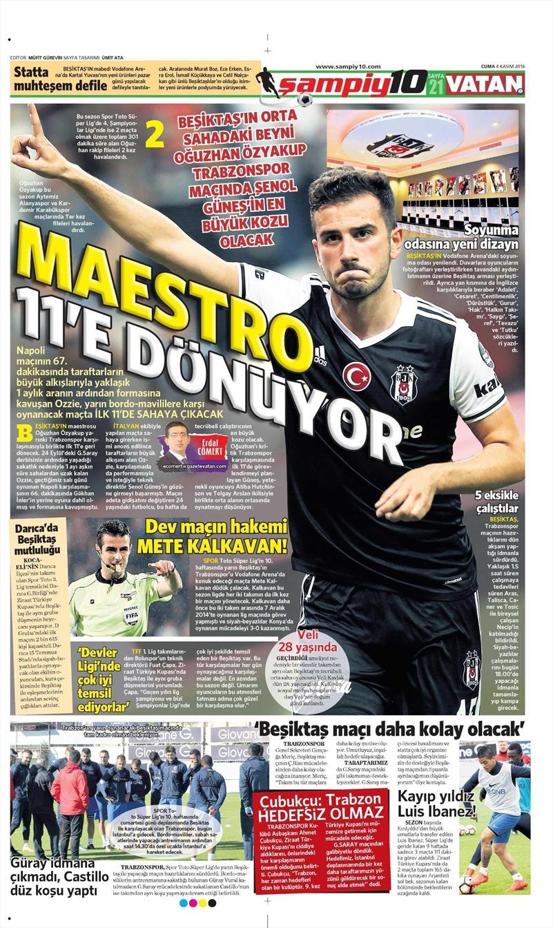 4 Kasım 2016 | Gazetelerin Beşiktaş sayfaları 8