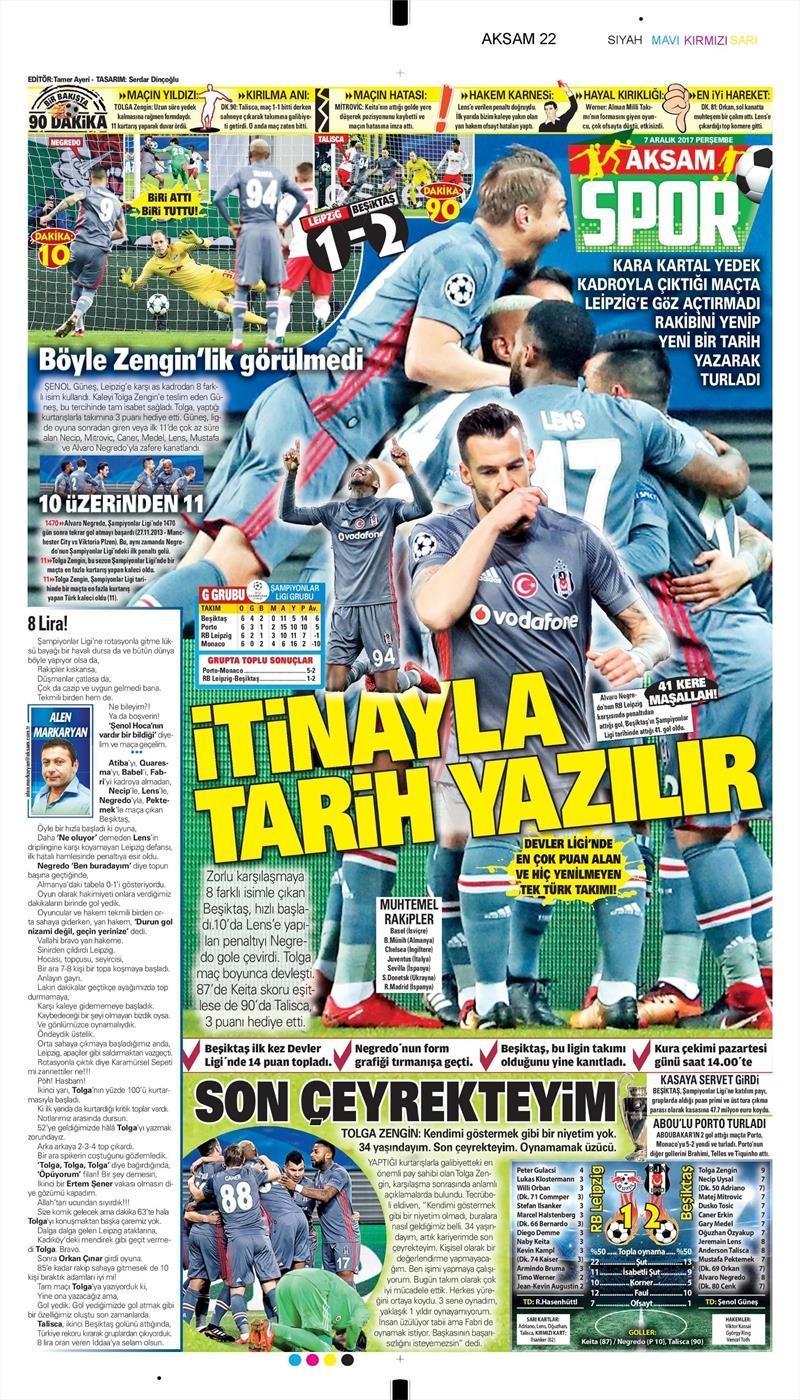 07 Kasım 2017 | Gazetelerin Beşiktaş Manşetleri 1