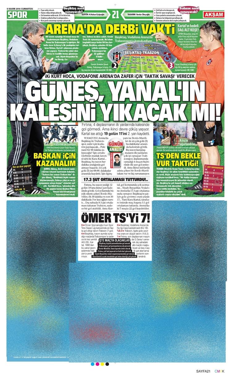 5 Kasım 2016 | Gazetelerin Beşiktaş sayfaları 10