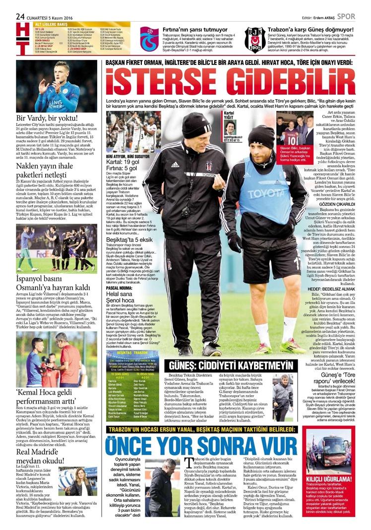 5 Kasım 2016   Gazetelerin Beşiktaş sayfaları 2