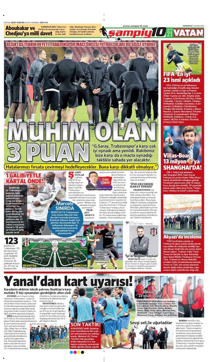 5 Kasım 2016 | Gazetelerin Beşiktaş sayfaları 3