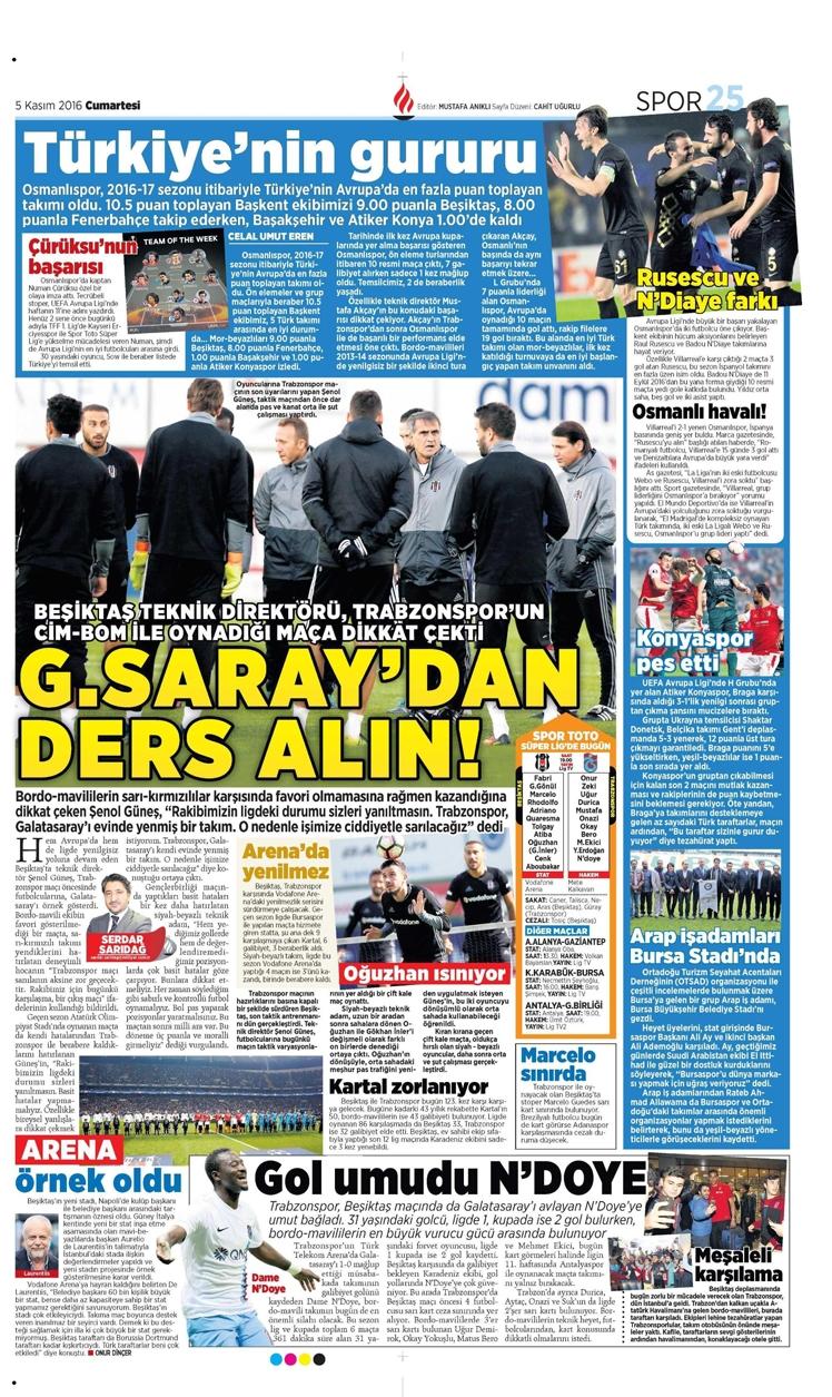 5 Kasım 2016 | Gazetelerin Beşiktaş sayfaları 5