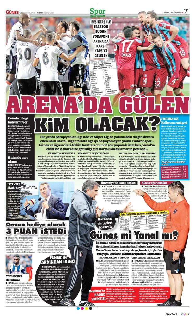 5 Kasım 2016   Gazetelerin Beşiktaş sayfaları 6