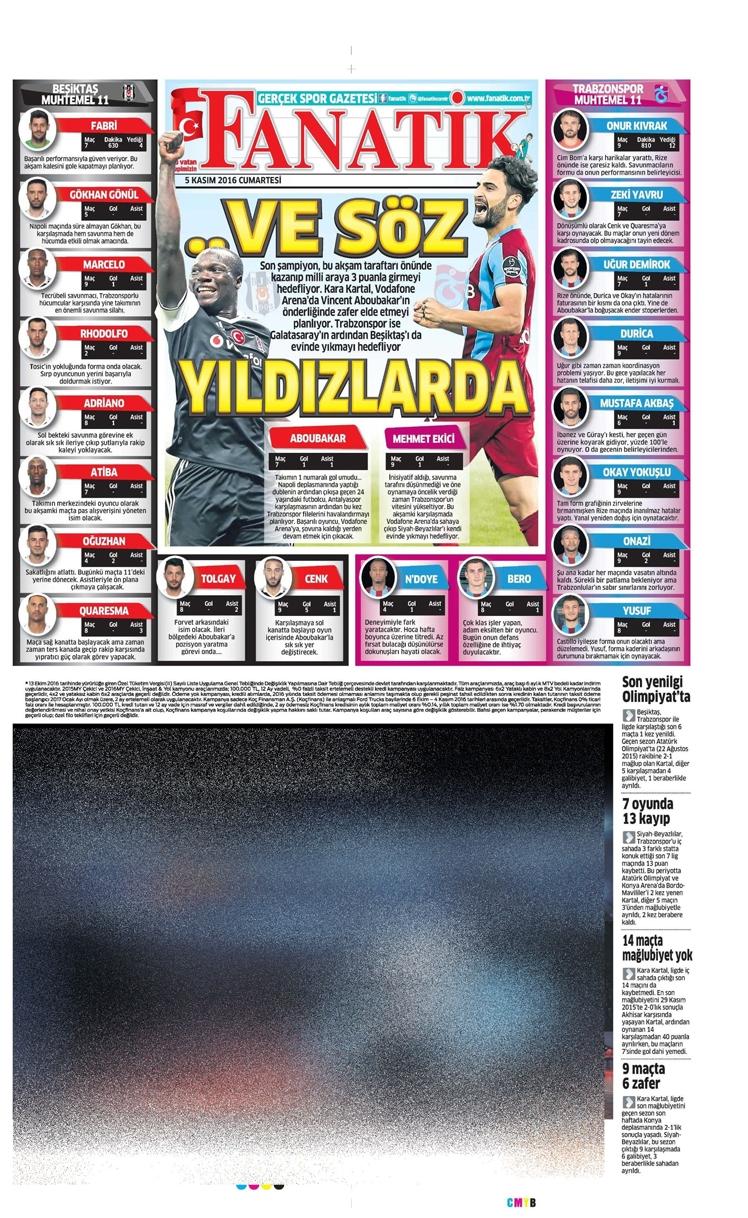 5 Kasım 2016 | Gazetelerin Beşiktaş sayfaları 8