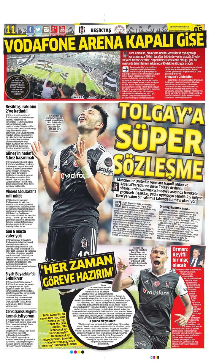5 Kasım 2016 | Gazetelerin Beşiktaş sayfaları 9