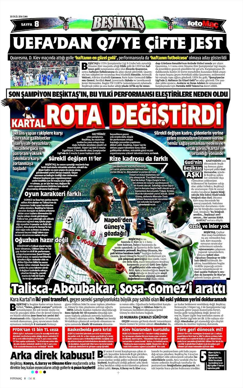 30 Eylül 2016   Beşiktaş sayfaları 10