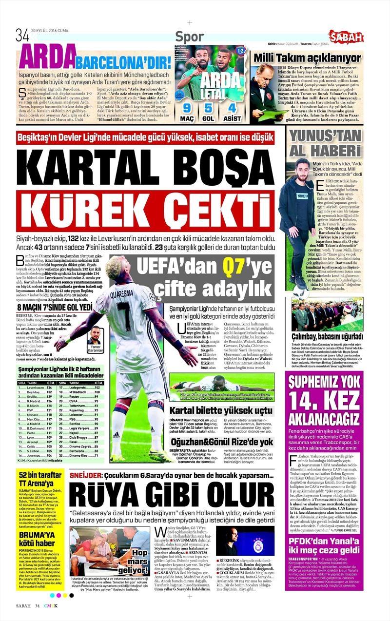 30 Eylül 2016 | Beşiktaş sayfaları 5