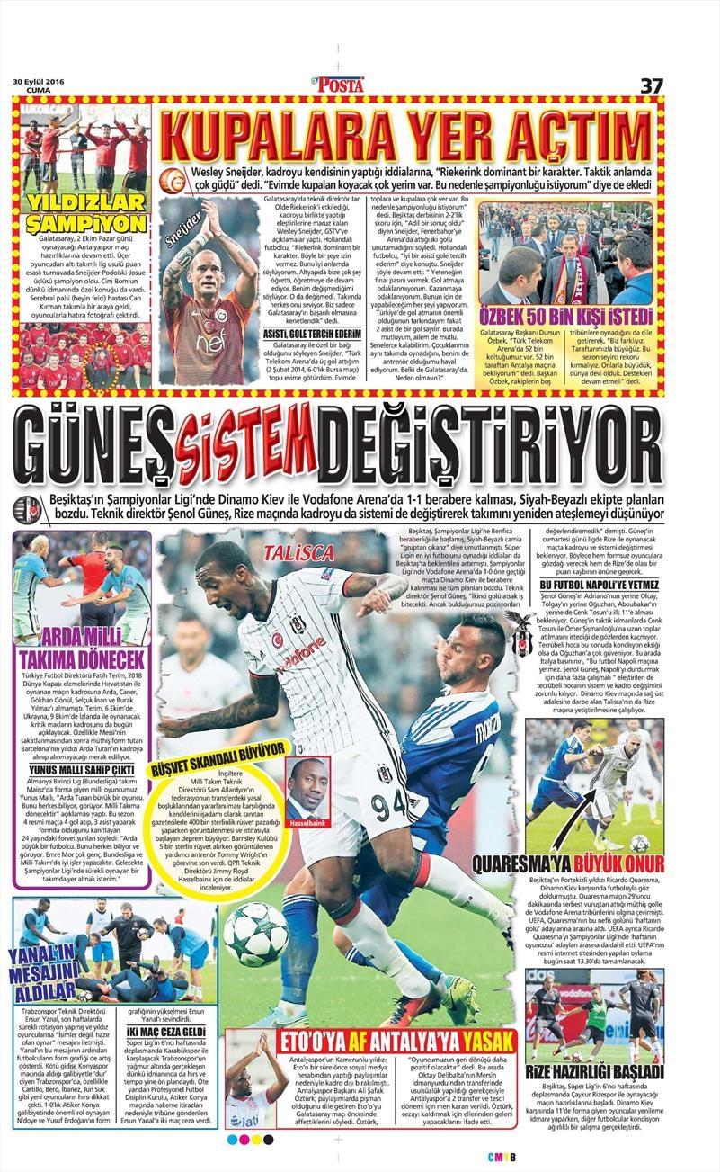 30 Eylül 2016 | Beşiktaş sayfaları 6